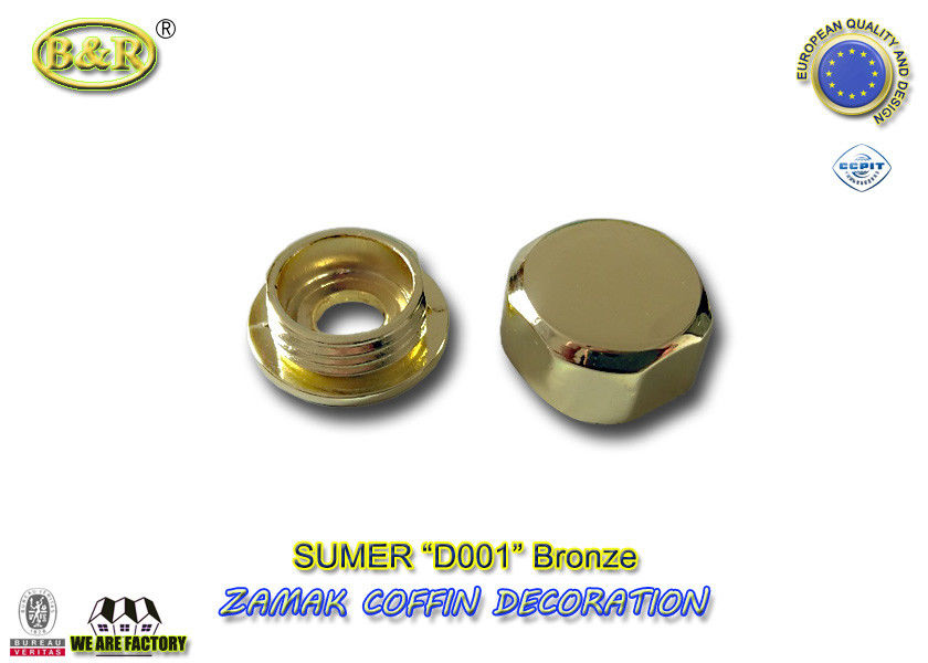 coffin ornamental gold color coffin fitting D001 metal zamak screw cap cache-vis dia. 2cm